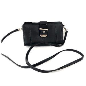 Etienne Aigner Black Leather Crossbody Wallet  Bag